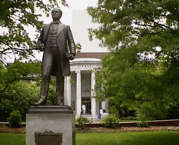 Picture of the statue of Charles Duncan McIver in front of the Jackson Library on the UNCG campus