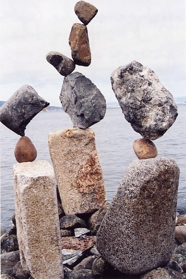 Rock Balancing Optical Illusion